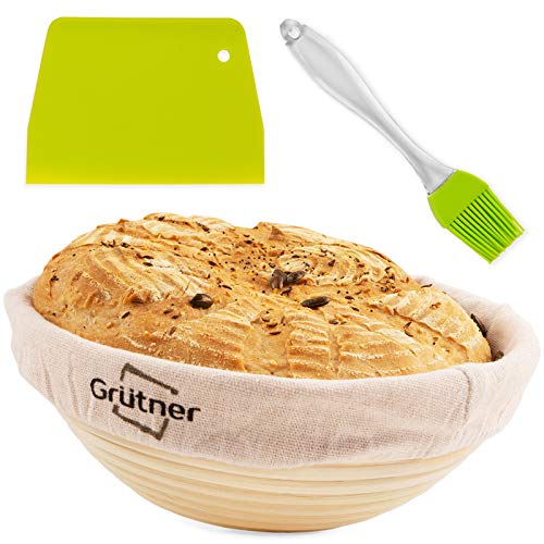 9 Inch Bread Banneton Proofing Basket - Natural Rattan Cane with Linen Liner Cloth, Dough Scraper/Cutter, Glaze Brush