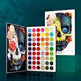 Makeup Palettes Eyeshadow 54 Colors for Halloween,Afflano Matte Shimmer Glitter Pigment Colorful Eye Shadow Pallets+4 Neon Aurora Glow Eyes Shade,Christmas Festival Birthday Make-up Gift Women Girls