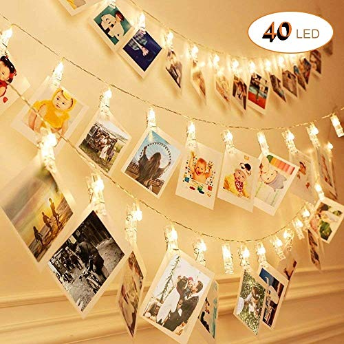 6 M 40 LED Clip cadena de luces LED, Sendo Cadena de luces con pinzas 2 modos de luz Blanco cálido Guirnalda de luces con Clips para fotos ideal para colgar fotos, notas, Memos y de arte