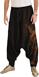 MogogoMen Harem Pants Floral Print Relaxed Fit Loose Hip Hop Jogging Pants