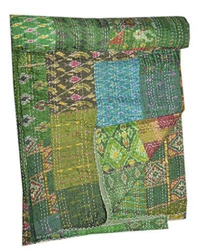 Colcha tribal asiática de seda india sari patchwork kantha colcha de cama queen reversible