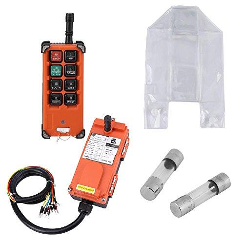 Control remoto inalámbrico de grúa industrial, sistema de control de radio de polipasto eléctrico de elevación de 24 V CC (1 controlador remoto + 1 receptor) Polipasto con botón de velocidad única