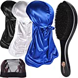 3pcs Silky Durags & 360 Wave Brush Kits for Men Best Gift, Extra 1 Wave Cap,C