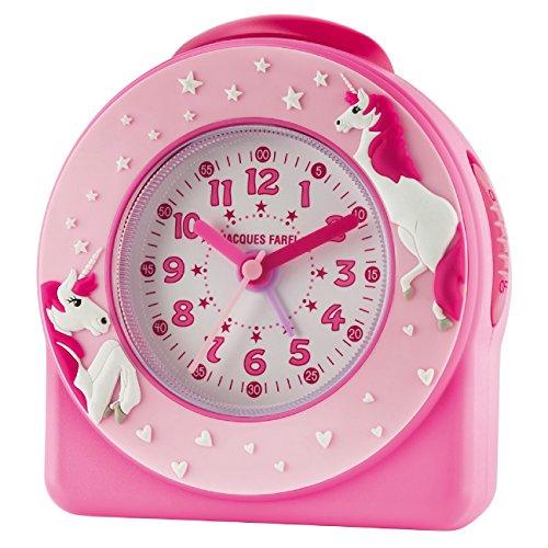 JACQUES FAREL Kinder-Wecker Mädchen 3D Einhörner/Sterne Pink/Rosa ohne Ticken Snooze Analog Quarz ACW 50