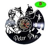 Meet Beauty Walt Disney Horloge Murale en Vinyle Motif Peter Pan de Cartoons de Bricolage Fait Main Cadeau Original pour Jeune...