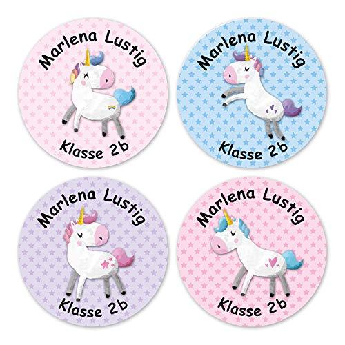 Papierdrachen 24 individuelle Aufkleber für Kinder - Motiv Einhorn - personalisierte Sticker -...