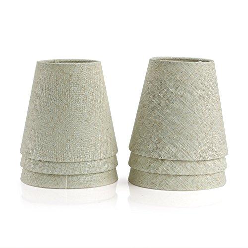 Fuloon Lampenschirme für Kerze Kristall Kronleuchter Wandleuchte Hängelampe Stoff Lampenschirm (6er Set, Beige)