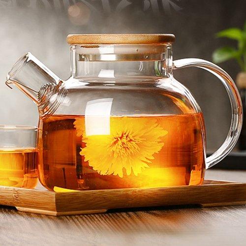 Cosy-YcY szklany dzbanek do herbaty z cewką filtrującą, dzbanek do herbaty z sitkiem do herbaty do bezpiecznego na kuchence, bambusowa pokrywka z dnem ze stali nierdzewnej i cewką filtrującą (1000 ml/35 uncji)