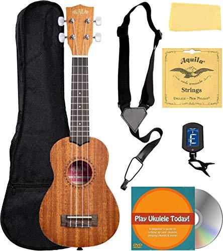 Kala KA-15S Satin Mahogany Soprano Ukulele Bundle with Gig Bag, Tuner, Strap, Fender Play, Austin Bazaar Instructional DVD, and Polishing Cloth