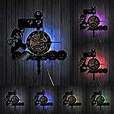 Wwbqcl Reloj de Pared con Disco de Vinilo de Videojuego de Setas Retro 80S Relojes Colgantes Signo de interrogación decoración de Bloques Regalo de Jugador con Led