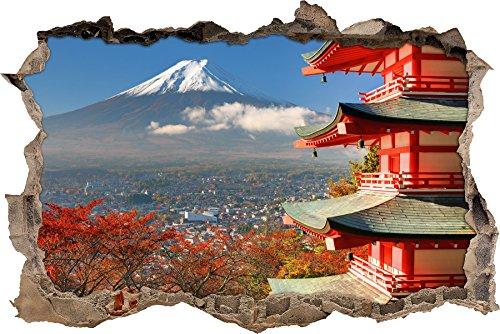 Pixxprint 3D_WD_S2248_92x62 wundervoller Tempel am Fudschijama Japan Wanddurchbruch 3D Wandtattoo, Vinyl, bunt, 92 x 62 x 0,02 cm