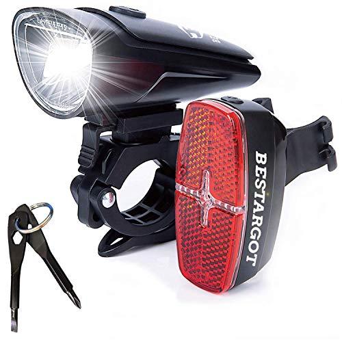 Bestargot LED Fahrradbeleuchtung Set, LED Fahrradlicht StVZO Zugelassen, Frontlicht und Rücklicht Set der AAA Trockenbatterie, 60/30 Lux 2 Modi Fahrradlampe mit IPX5 Wasserdicht