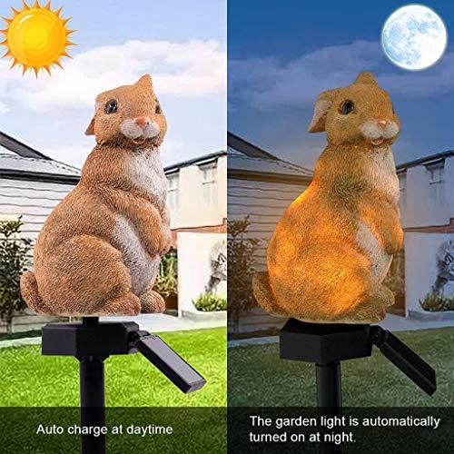 QHJ Solarleuchten Garten, LED Garten Lichter Solar Lichter Blume Fee und Blume Fee und Kaninchen Solar Powered Rasen Lampe für Weg, Rasen, Patio, Hof (B)