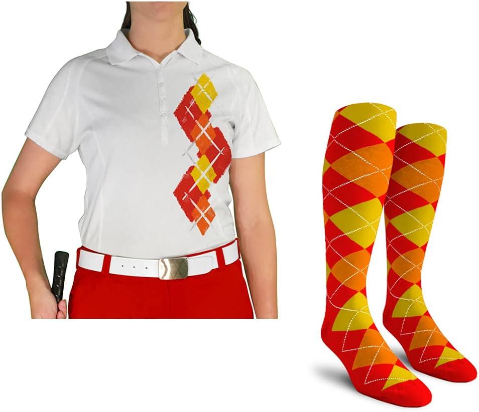Super-cheap Ladies Argyle Paradise Golf Shirt with Latest item Socks - Orange 5A: Red Ye