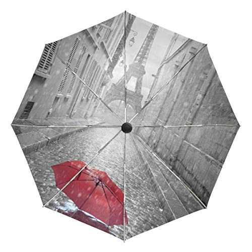 FANTAZIO Reizen Paraplu Eiffeltoren Uitzicht Van De Straat Van Parijs auto open paraplu Lichtgewicht