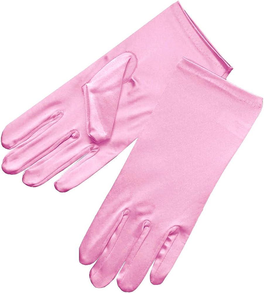 Greatlookz Beautiful Wrist Length Short Satin Gloves in Bubblegum Pink