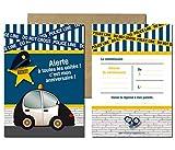 Lot de 5 cartes d'invitation anniversaire Police
