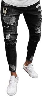 iMakcc Mens Skinny Feet Distressed Ripped Jeans Frayed Slim Fit Destroyed Denim Pants