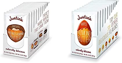 Justin's Chocolate Hazelnut & Almond Butter Squeeze Pack, Organic Cocoa, Gluten-free(1.15oz each) (Pack of 10) & Maple Alm...