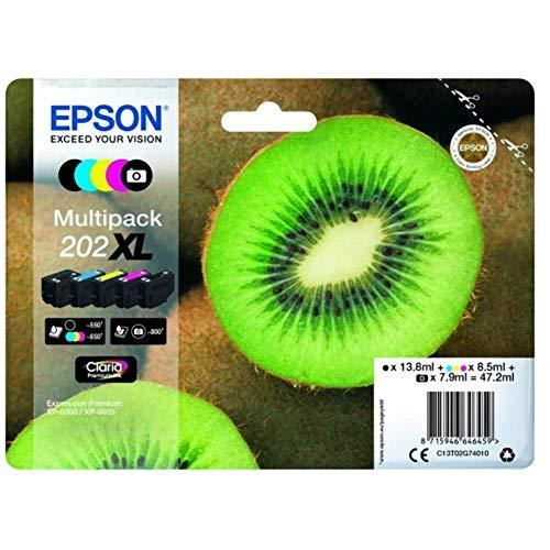 Epson Original 202XL Tinte Kiwi (XP-6000 XP-6005 XP-6100 XP-6105, Amazon Dash Replenishment-fähig) Multipack 5-farbig