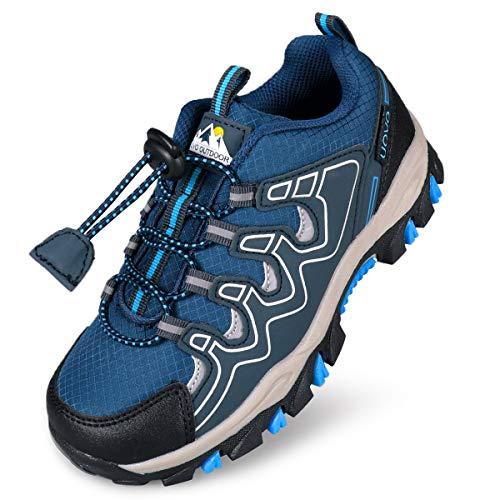 UOVO Boys Shoes Boys Tennis Running Sneakers Waterproof Hiking Shoes Kids Athletic Outdoor Sneakers Slip Resistant(Little/Big Boys) (Navy Blue, Numeric_2)