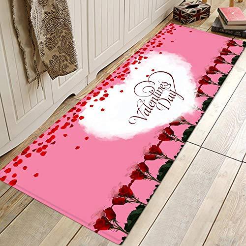 WGOO Carpet Küchenmatten Anti-Rutsch waschbar Innenbereich Teppiche Küchenteppich Küchenläufer Matte Set,Rosa Valentinstag Brief Drucken 8MM Dicke Bad Teppich,40X60CM