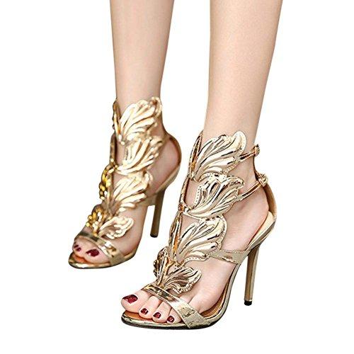 Sandales à Talons Cheville,OveDose Femme Été Chaussures Hauts Similicuir Métallisé Sexy Peep Toe Soirée High Heels (39, Or)