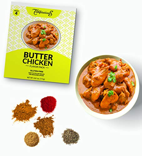 BUTTER CHICKEN MAKHANI CURRY INDIAN FOOD SPICES by Flavor Temptations. Home Cook MASALA Dishes with Beginner Seasoning Set. Gluten free, Salt free. 1 Pack (Serves 4).