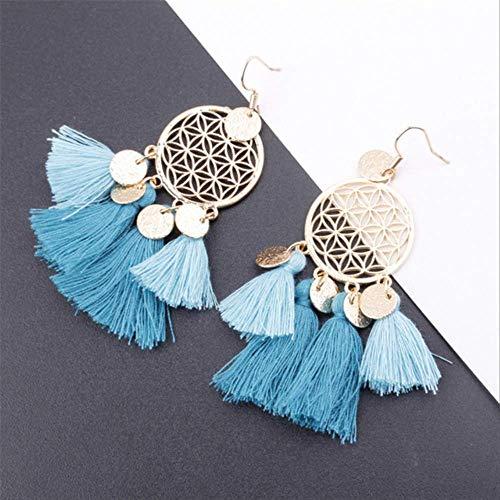 Sieraden voor vrouwenBohemian etnische pailletten kwast oorbellen voor vrouwen Sieraden Dreamatcher Boho Wedding EarringDark Lake Blue