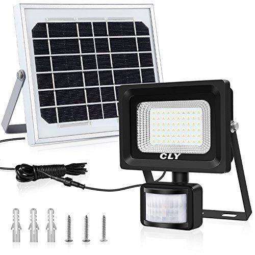 Foco Led Solar Exterior Sensor Movimiento, Foco Solar Exterior, lluminacion Exterior Solar,60 LED 6500K IP66 Impermeable Luz Solar Exterior,Lampara Solar, lluminación de Seguridad para Patios Terrazas