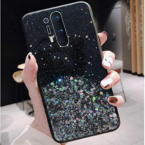 Sunny Fashion Starry Night Dry Non Moving Sparkling Bling Shining Glitter Stars Soft Silicon Back Cover for OnePlus 8 Pro (Black)
