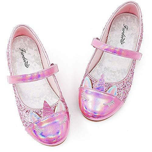 Furdeour Little Kids Glitter Dress Up Shoes Princess Formal Slipper Casual Cute Unicorn Flats Pink Ballet Flats Birthday Party Flower Girl Wedding Shoes(Uni-Pink 13)