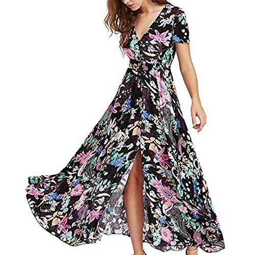 Logobeing - Vestidos Mujer Verano Largos,Vestidos Mujer Casual Fiesta Ropa Top Falda Florales de Mujer Boho Button Up Split Vestido de Fiesta En La Playa - Play 216 (Negro,XXL)