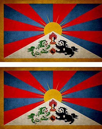 Akachafactory 2x Sticker vlag vinyl land vintage tibet