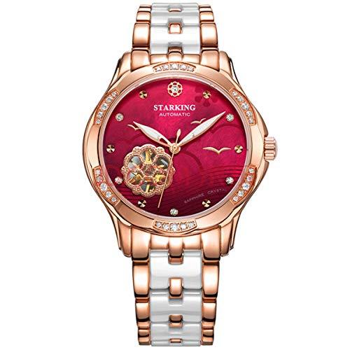 Armbanduhren Damen Automatische Mechanische Keramikarmband Modische Uhren Damenuhren (rot)