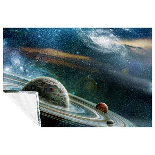 BestIdeas Manta suave y cálida con estampado del universo de planetas para cama, sofá, picnic, camping, playa, 150 x 100 cm