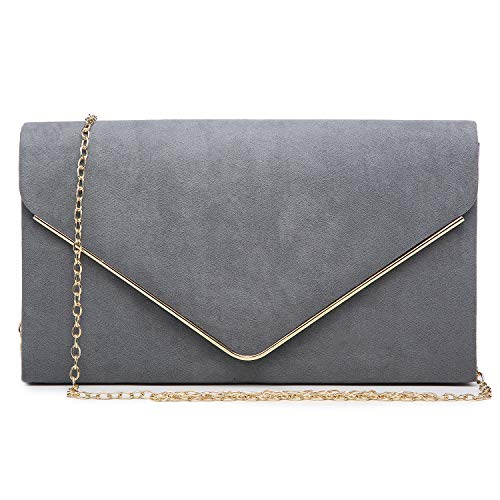 Dasein Women's Evening Clutch Bags Formal Party Clutches Wedding Purses Cocktail Prom Clutches (Pewter)