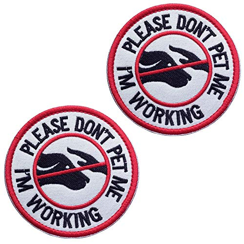 U-LIAN 2 Pcs Service Dog Working Do Not Touch Tactical Morale Patch for Dog Vest Harness with Hook Loop Fastener - Please Do Not Pet Me I'm Working Badge