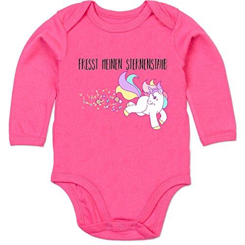 TypoT Einhorn Unicorn - fresst Meinen Sternenstaub - 12/18 Monate - Fuchsia - Strampler 6 Monate - BZ30 - Baby Babybody Langarm Strampler