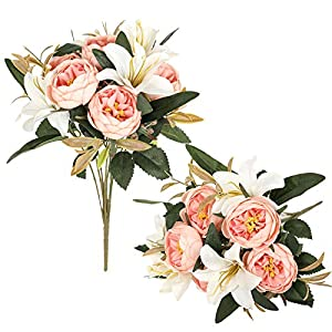 2 Pack Artificial Peonies Flowers Arrangements Peony Lily Bouquets Faux Lilies Floral Decoration for Home Office Party Cemetery Decor-Light Pink Peonies+ White Lilies