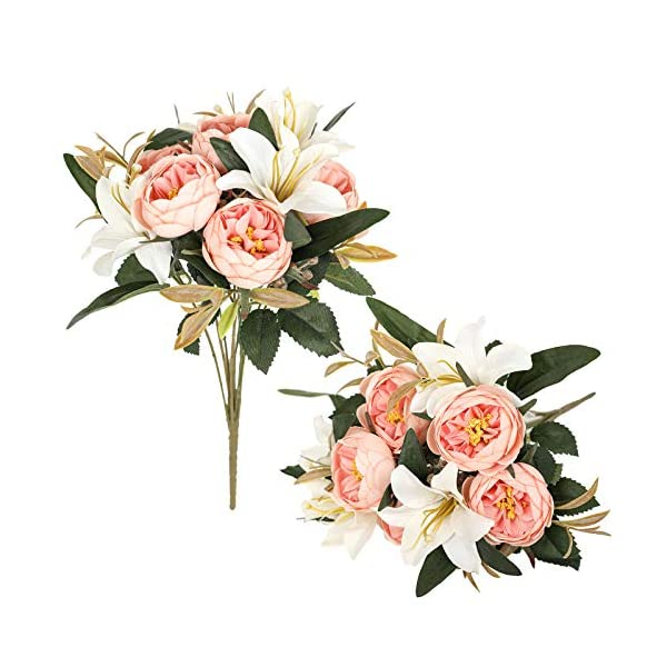 Luyue 2 Pack Artificial Flowers Arrangements Vintage Peony Lily Bouquets Faux Floral Decoration for Home Office Party Cemetery Decor