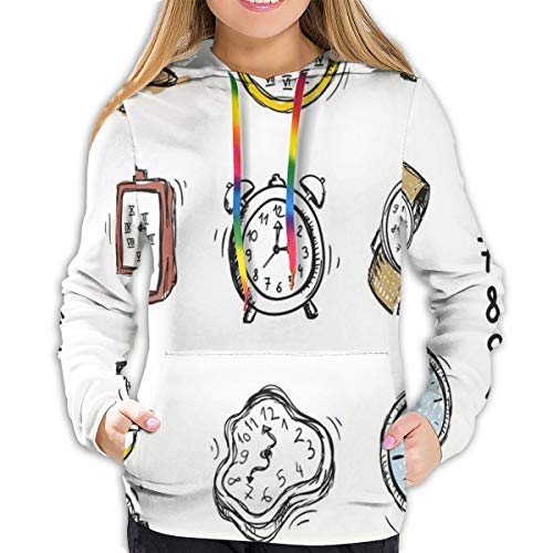 MLNHY Women's Hoodies Tops,An Assortment of Vintage Watches and Doodled Clocks Hand Drawn Illustration,Hoodie Sweatshirt Apparel for Women,Lady, Teens and Girls,Size:S