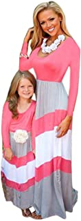 Iannan Matching Dress Mommy Daughter Outfits Long Sleeve Striped Casual Print Maxi Long Dress Family Clothes Dresses