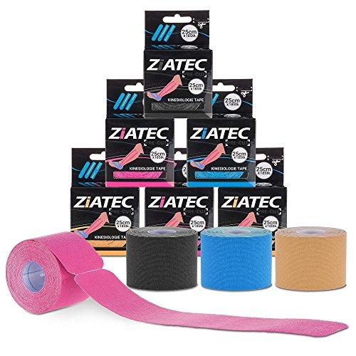 Cinta de Kinesiología precortada ZiATEC Pre-Cut Kinesiology Tape | Cinta de quinesiología, piel sensible, ideal para principiantes, cinta deportiva, tamaño:4.5m (18 x 25cm), color:1 x azul
