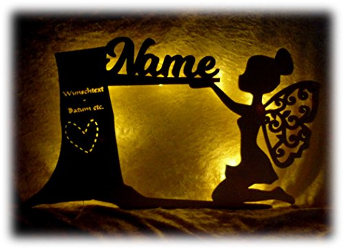 Schlummerlicht24 Led Möbel Nachtlicht Wald Fee Lampe mit Name für das Kinderzimmer oder das Babyzimmer, als Taufgeschenk oder Geburtstagsgeschenk für Mädchen Frauen Frau