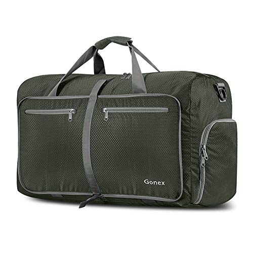 Gonex 60L Foldable Travel Duffel Bag for Luggage, Gym, Sport, Camping, Storage, Shopping Water & Tear Resistant Dark Green