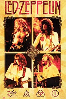 Hotstuff Led Zeppelin Live Poster Print 4 Photos Collage Classic Rock Music Band 24