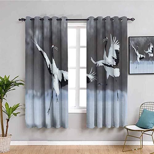 Decoración de vida silvestre dormitorio cortinas opacas bailando par de grúa coronada roja con alas abiertas en vuelo romántico pájaro impresión 2 paneles blanco W84 x L84 pulgadas