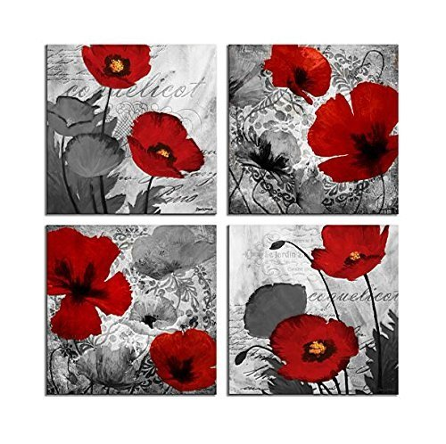 Red Flower Paintings Canvas Print Black and White Poppy Pictures Modern Artwork Ready to
