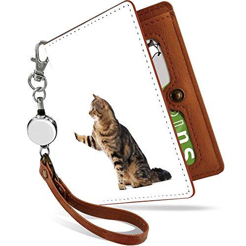 KEIO ケイオー リールつきパスケース カバー 定期入れ 猫柄 二つ折り 2枚 3枚 4枚 カードケース ネコ リー...
